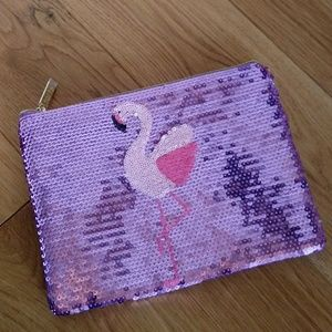 Tarte sequins Flamingo print zipper pouch